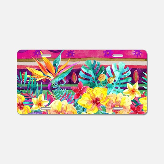 Tropical Watercolor Aluminum License Plate