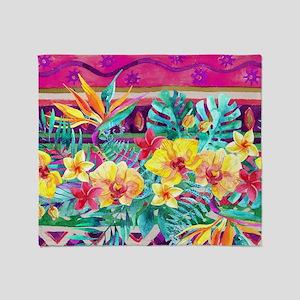 Tropical Watercolor Throw Blanket