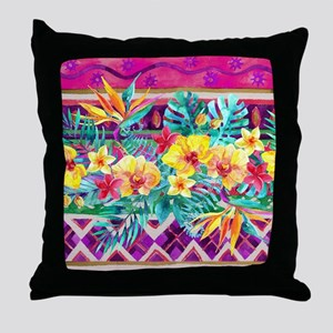 Tropical Watercolor Throw Pillow