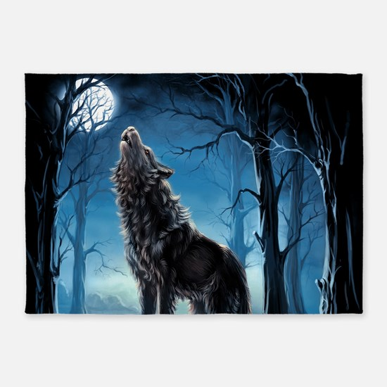 Howling Wolf 5'x7'Area Rug