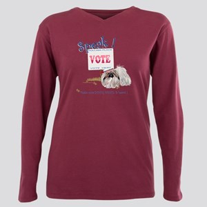 Pekingese Vote Plus Size Long Sleeve Tee