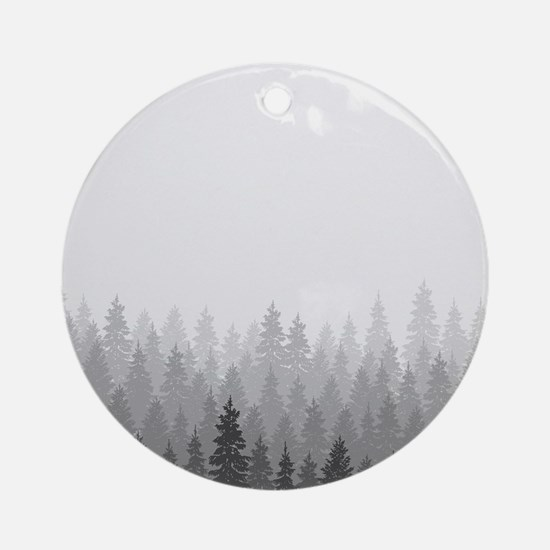 Gray Forest Round Ornament