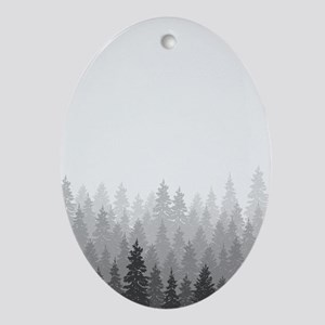 Gray Forest Oval Ornament