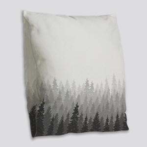 Gray Forest Burlap Throw Pillow