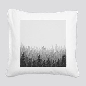 Gray Forest Square Canvas Pillow