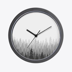 Gray Forest Wall Clock