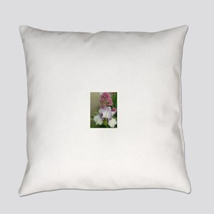 iris and other flower in garden Everyday Pillow