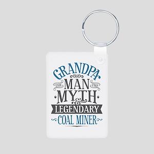 Grandpa Coal Miner Aluminum Photo Keychain