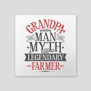 """Grandpa Farmer Square Sticker 3"""" x 3"""""""