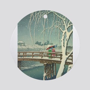 Snow At Edo River Hasui Kawase wint Round Ornament
