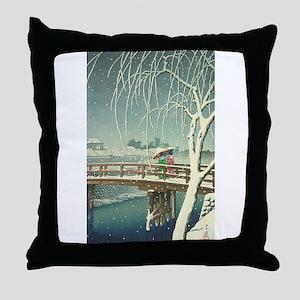 Snow At Edo River Hasui Kawase winter Throw Pillow