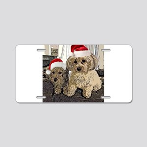 Christmas Cute dogs Copper Aluminum License Plate