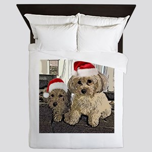 Christmas Cute dogs Copper and Peny Queen Duvet