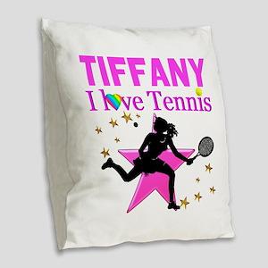 PERSONALIZED TENNIS Burlap Throw Pillow