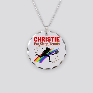 PERSONALIZED TENNIS Necklace Circle Charm