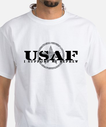 I Support My Nephew - Air Force White T-Shirt