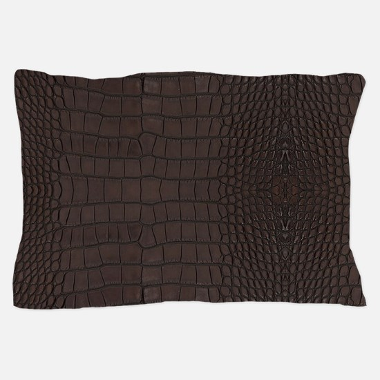 Gator Brown Leather Pillow Case