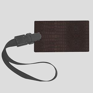 Gator Brown Leather Large Luggage Tag