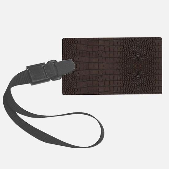 Gator Brown Leather Luggage Tag