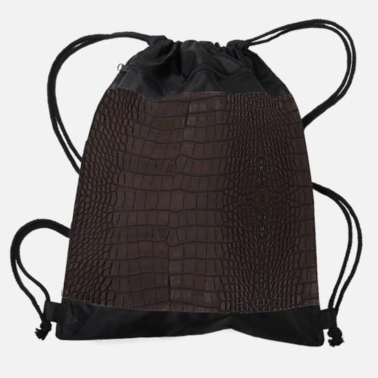 Gator Brown Leather Drawstring Bag