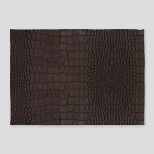 Gator Brown Leather 5'x7'Area Rug