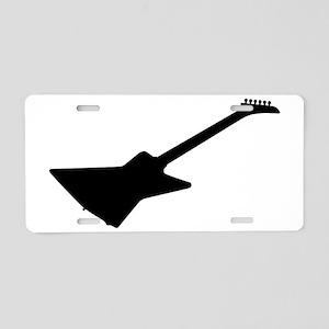 Modern Guitar Silhouette Aluminum License Plate