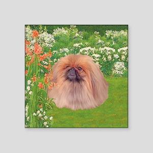 """Pekingese Dog Garden Square Sticker 3"""" x 3"""""""