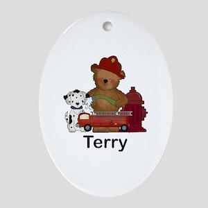 Terry's Fire Bear Oval Ornament