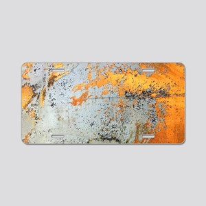 abstract silver grey yellow Aluminum License Plate