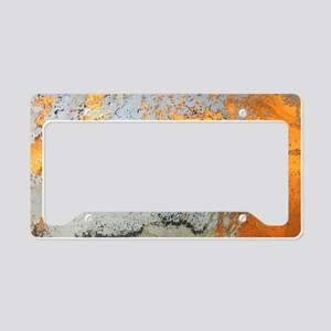 abstract silver grey yellow License Plate Holder