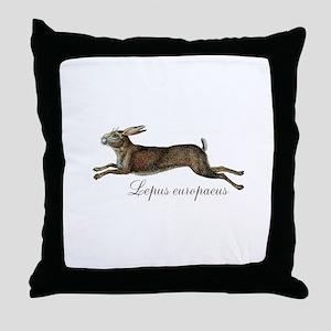 Lepus europaeus Throw Pillow