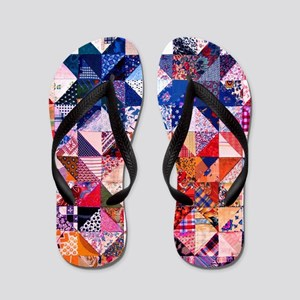 Country Patchwork Quilt Flip Flops