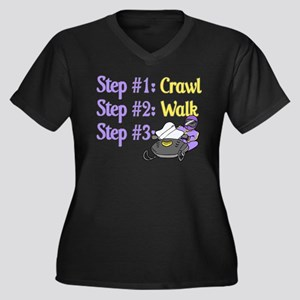 Step 1... Step 2... Women's Plus Size V-Neck Dark