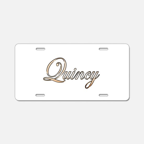 Gold Quincy Aluminum License Plate
