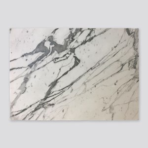 girly chic white marble 5'x7'Area Rug