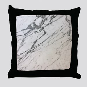 girly chic white marble Throw Pillow