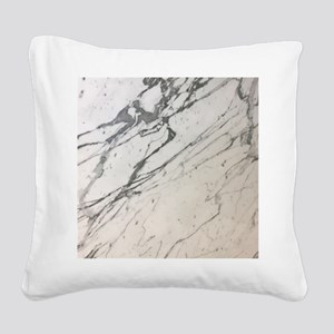girly chic white marble Square Canvas Pillow