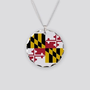 Maryland State Flag Necklace Circle Charm