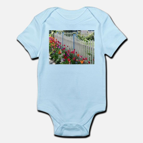 Tulips Garden Along White Picket Fence P Body Suit