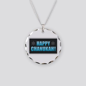 Happy Chanukah Necklace Circle Charm