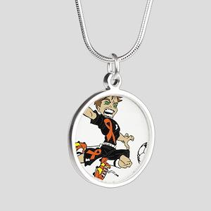 PERSONALIZED SOCCER BOY ORANGE RIBBON Necklaces