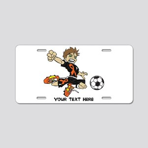 PERSONALIZED SOCCER BOY ORANGE RIBBON Aluminum Lic