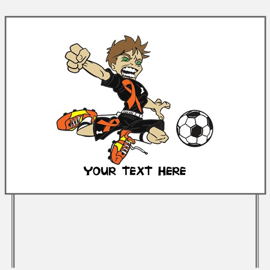 PERSONALIZED SOCCER BOY ORANGE RIBBON Yard Sign