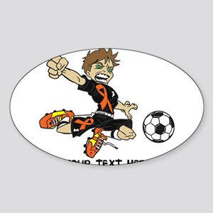 PERSONALIZED SOCCER BOY ORANGE RIBBON Sticker