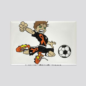 PERSONALIZED SOCCER BOY ORANGE RIBBON Magnets