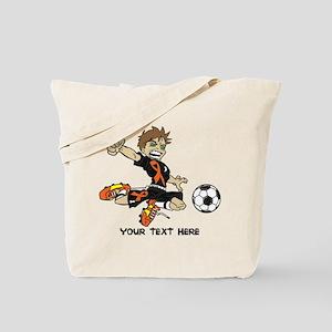 PERSONALIZED SOCCER BOY ORANGE RIBBON Tote Bag