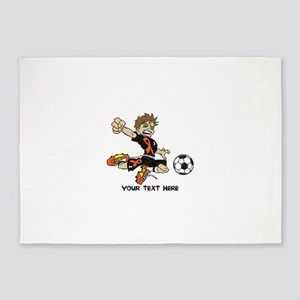 PERSONALIZED SOCCER BOY ORANGE RIBBON 5'x7'Area Ru