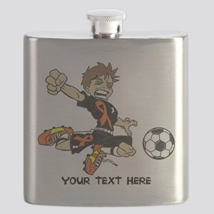PERSONALIZED SOCCER BOY ORANGE RIBBON Flask