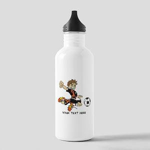 PERSONALIZED SOCCER BOY ORANGE RIBBON Water Bottle