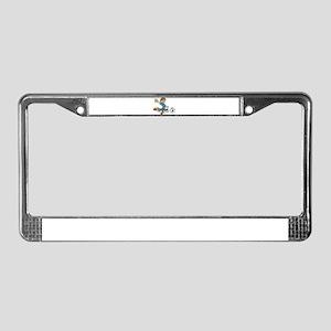 SOCCERBOYCYANORANGERBBN License Plate Frame